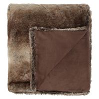 Linea Brown Stripe Faux Fur Throw