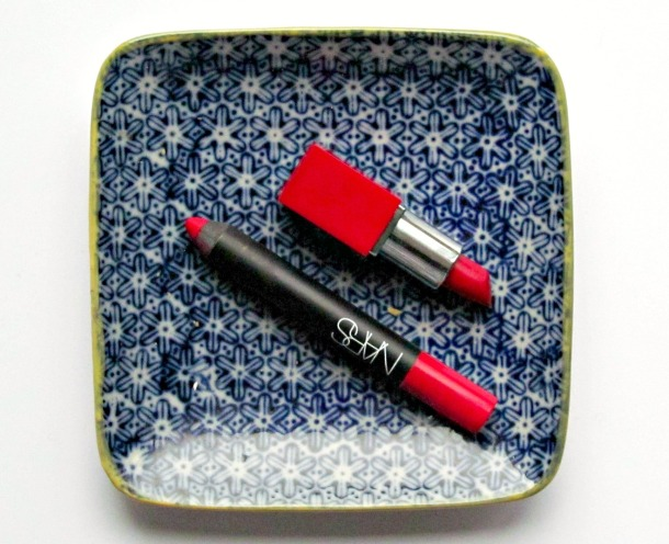Nars Dragon Girl and Clinique Lip Pop in Cherry Pop