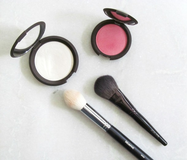 Becca Luminous Blusher in Camellia Becca Shimmering Skin Perfector in Pearl